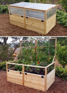 Convertible Raised Garden Bed with Removable Greenhouse Panels – Gardens To Gro Greenhouse Panels, Backyard Greenhouse, Greenhouse Ideas, Greenhouse Wedding, Portable Greenhouse, Cheap Greenhouse, Greenhouse Growing, Homemade Greenhouse, Raised Vegetable Gardens
