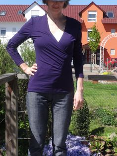 May-5 sunny but still quite cold in the morning,  wearing a Burda style wrap shirt from the 1/09 issue Mod. 110 (sewn 3 times yet) #MMM16