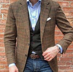Combinación Mens Smart Casual Outfits, Business Casual Outfits, New Outfits, Men Casual, Blazer En Tweed, Older Mens Fashion, Mens Fashion Blazer, Preppy Men, Gents Fashion
