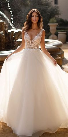 A-Line Wedding Dresses 2020 2021 Collections Overview a line wedding dresses v neckline lace top sleveless moonlightbridal Cute Wedding Dress, Wedding Dress Trends, Wedding Dress Sleeves, Princess Wedding Dresses, Dream Wedding Dresses, Bridal Dresses, Wedding Gowns, Bridesmaid Dresses, Wedding Bride