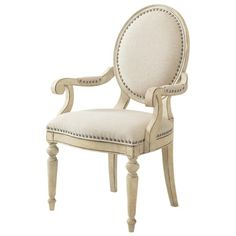 I pinned this Lexington Byerly Arm Chair from the Design Icon: Marilyn Monroe event at Joss and Main! The gorgeous Byerly Arm Chair from Lexington brings rich, romantic style to your dining room, living room, or office. Washed in warmly antiqued white, this beautiful silhouette showcases a traditional medallion back, elegant nickel nailhead trim, and plush, comfortable cushioning.