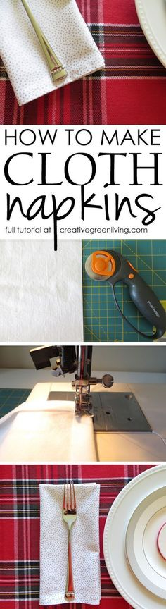 How to make easy DIY cloth napkins. This tutorial is awesome and so easy to…