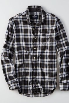 AEO Plaid Button Down Shirt, Men's, Size: XL-Tall, Black