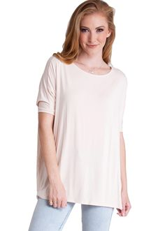 Bamboo Fiber Round Neck Short Sleeve Dolman Top TB1001SD, clothing, clothes, womens clothing, jeans, tops, womens dress