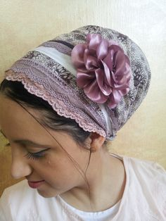 JewishSinar hair covering with matching flower by oshratDesignz