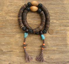108 Rustic Sherpa Style Buddhist Prayer Mala with by FifthSonSutra, $40.00