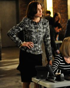 The Good Wife Season 5 Outfits, Explained by Costume Designer Daniel Lawson - SEASON 5, EPISODE 9: ESCADA BLAZER AND ALEXANDER MCQUEEN SKIRT from #InStyle