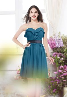 Moroccan Blue Modest Strapless Zip up Chiffon Knee Length Bridesmaid Dress
