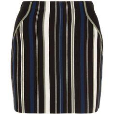 3.1 Phillip Lim Striped stretch cotton-blend mini skirt ($310) ❤ liked on Polyvore featuring skirts, mini skirts, black, multi colored skirt, stripe skirts, sporty skirts, cotton stretch skirt and colorful skirts
