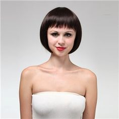 MYS47 Cute Chin-length Straight Bob Style Human Hair Wig with Full Bangs for Women (Brown)