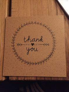 HANDLETTERING - kaart - card - Thank you - bedankkaart