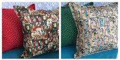Lindas almofadas de natal feita pela Duart Ateliê de Patchwork com as estampas de natal da Fabricart Tecidos.
