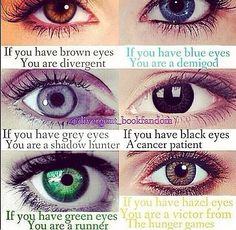 OMG I AM EATHIER DIVERGENT OR A VICTOR!! My eyes are like a really light almost hazel brown