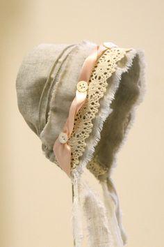 Vintage-style Linen bonnetbaby bonnet photo prop cotton