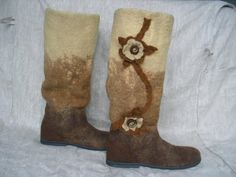 Felted boots COFFEE with flowers by woolicity on Etsy, $280.00
