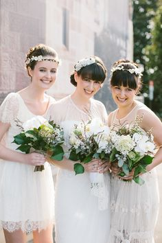 Boho white dresses, @Tabitha Bray in Ruffled Blog - I would not have my bridesmaids wear white, but I love their hair accessories so I am pinning this. And bangs. I always love good bangs.