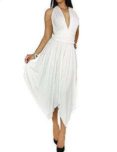 Women's Fashion Sexy Multi-Tie Top Hankerchief Skirt Solid Rayon Jersey Dress (SMALL, WHITE-2007)