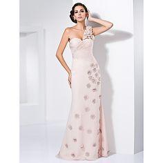 Trumpet/Mermaid Sweetheart One Shoulder Sweep/Brush Train Chiffon Evening Dress