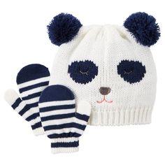 Baby Girl Panda Hat & Mitten Set   Carters.com