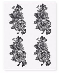Twin Black Rose Flower Temporary Tattoos in 1 sheet) Rose Tattoos, Flower Tattoos, Body Art Tattoos, Black Rose Flower, Realistic Temporary Tattoos, Snake Tattoo, Rose Art, Free Fun, Tattoo Designs