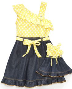 Sweet Heart Rose for Dollie and Me Kids Dress, Little Girls One Shoulder Dress and Matching Doll Outfit