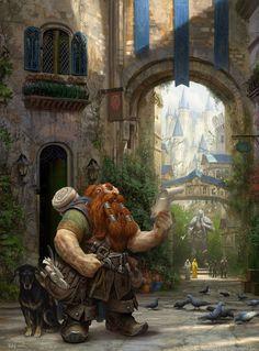 Male Dwarf Ranger -- come to the City Scroll w name & address map urban street Dog backpack traveler #dwarf #dwarftraveller