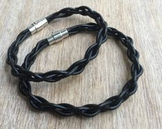 Couples Leather Bracelets, His and her Bracelet, Black Matching Bracelets LC001123