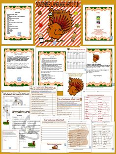 This is a bundle of Thanksgiving projects that include the four kinds of sentences, (Declarative, Exclamatory, Interrogative and Imperative), singular and plural practice, a writing prompt, and a November themed crossword puzzle for your 4,5,7 graders, and Special Education classes. Also included is a picture of a turkey that can be put on your bulletin board along with the stories that your children have written. A rubric is included as well as a complete lesson plan.