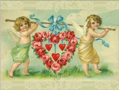 cherubs with heart of roses