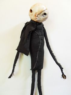 Skull functional scarecrow fabric doll by MercuryRusting, $140.00