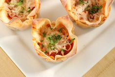 Mini Lasagna: I used Eggroll wrappers and a jar of ready made sauce - easy and tasty...