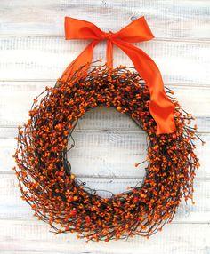 PUMPKIN ORANGE Scented Fall WreathThanksgiving by WildRidgeDesign, $59.00