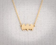 Simple Bat Necklace - Gold // N038-GD // Gold Plated, Best friend Gift, Birthday Gift, Cute, Adorable, Everyday Jewelry, Simple. $12.00, via Etsy.