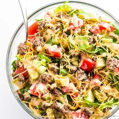 This easy low carb Big Mac salad recipe is ready in just 20 minutes! A gluten-free, keto cheeseburger salad like this makes a healthy lunch or dinner. Pasta Salad, Cabbage, Vegetables, Ethnic Recipes, Food, Ketogenic Recipes, Crab Pasta Salad, Veggies, Napa Cabbage