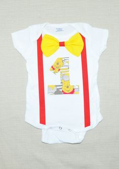 Rylo Winnie the Pooh birthday onesie with bowtie and suspenders by RYLOwear, $18.00