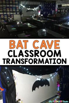 Bat Cave Classroom Transformation - Easy and Inexpensive to pull off! Read about how I transformed my classroom on my blog theprimarybrain.com #bats #halloween #classroom #classroomtransformation