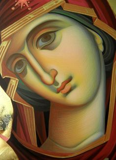 Theotokos by Eleni Dadi Byzantine Art, Byzantine Icons, Religious Icons, Religious Art, Virgin Mary Art, Creativity Exercises, Stained Glass Paint, Holy Mary, Madonna And Child
