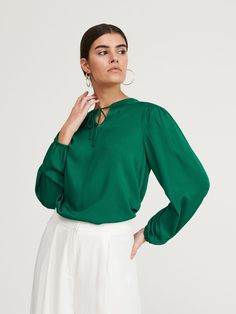 Блузка з зав'язкою на шиї, RESERVED, YZ177-67X Blouse, Long Sleeve, Sleeves, Tops, Women, Fashion, Beautiful Blouses, Nice Asses, Blouse Band