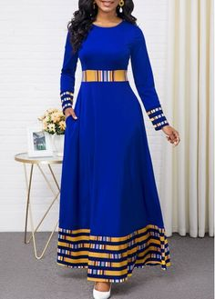 Party Dresses For Women Rainbow Stripe Round Neck Long Sleeve Maxi Dress Long African Dresses, Latest African Fashion Dresses, Women's Fashion Dresses, Sexy Dresses, Dress Outfits, Trendy Dresses, Fashion Clothes, Blue Dresses, Casual Dresses