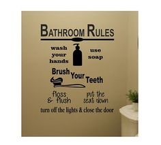 Bathroom Wall Quote Sign Vinyl Decal Sticker floss flush brush bathroom rules lettering Wash your hands and say your prayers Jesus and germs