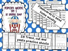Popcorn Words Set 1 by Deanna Jump ~ This is a comprehensive packet for teaching sight words. This packet includes 12 weeks of activities. Included are: Weekly flashcards to print and send home, word work activities, cut and paste, Read,Build, Write sheets and assessments to send home for home/school communication. Also included are flash cards and sign language popcorn word cards. This is an excellent resource for literacy centers and Word Work. Includes 60 pages.