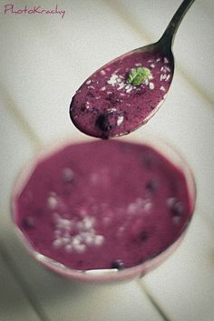 blueberry chilled soup with coconut milk