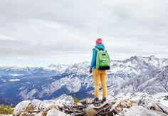 Woman on mountain peak
