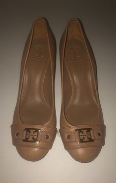 Tory Burch Pebble Leather Signature Wedge Heels with Gold Hardware Sz. 10
