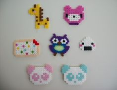 Cute kawaii creations made from perler/hama beads, some turned into magnets . Make a pegboard bead magnet in under 90 minutes by pegboarding and fusing with perler beads. Inspired by japanese, creatures, and kawaii. Perler Bead Templates, Pearler Bead Patterns, Bead Loom Patterns, Beading Patterns, Art Patterns, Perler Patterns, Perler Earrings, Diy Perler Beads, Perler Bead Art