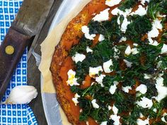 Sweet Potato, Goat Cheese and Kale Pizza