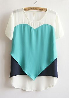 Green Irregular Heart Print Loose Thin Chiffon T-Shirt