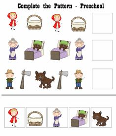 Printable - Complete a sequência Cutting Activities, Preschool Activities, English Worksheets For Kids, Little Red Hen, Rhinos, Red Riding Hood, Book Worms, Fairy Tales, Kindergarten
