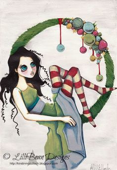 Christmas Wreath - Friday Art: LISTENING TO THE SQUEAK INSIDE art by Kirstin McCulloch of LilliBean Designs