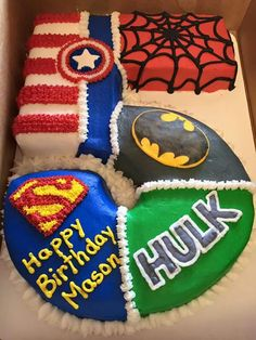 I think super hero's would be perfect for Noah's next birthday :) Avengers theme shape of 1 Avengers Birthday, Batman Birthday, Fourth Birthday, Superhero Birthday Party, 6th Birthday Parties, Birthday Fun, Super Hero Birthday, 5th Birthday Ideas For Boys, Birthday Cakes For Boys